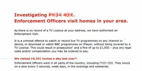 Opening section of sample TV Licensing letter