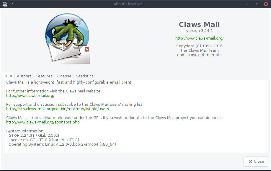 Claws Mail About screenshot