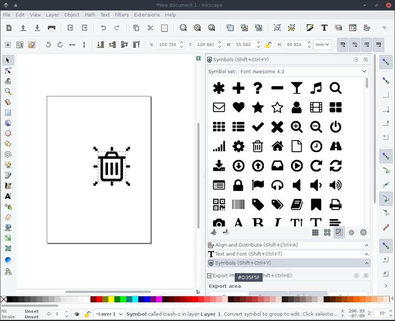 Selecting a Font Awesome icon as a symbol in Inkscape