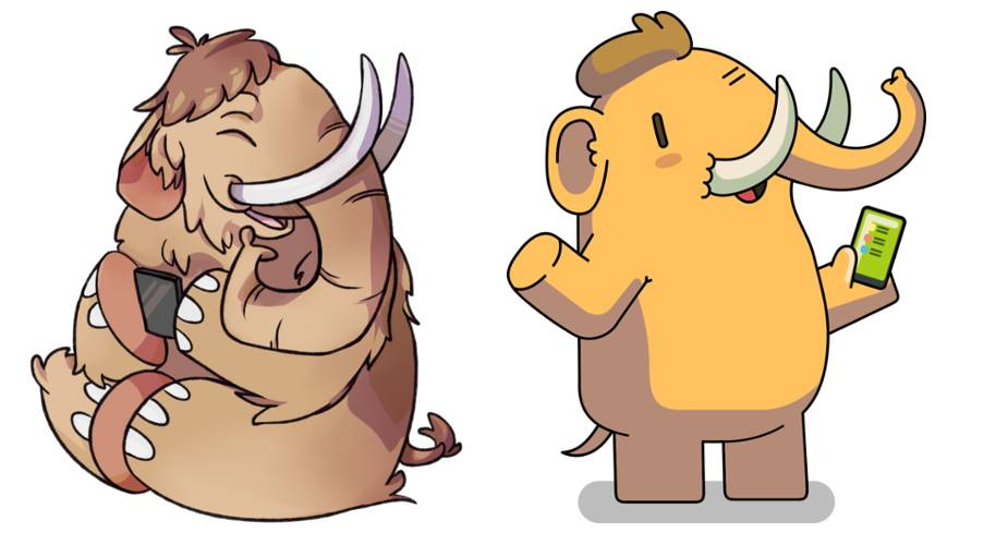 Two representations of the Mastodon Mascot