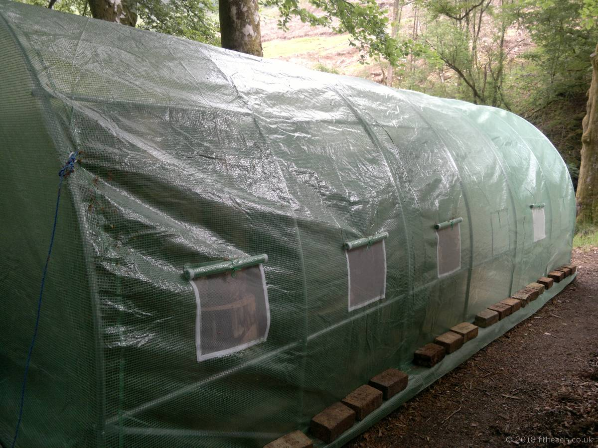 Long side view of the polytunnel, with the covering on.