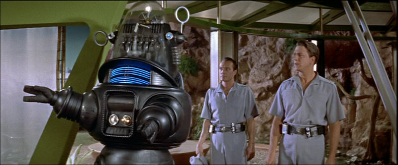 Forbidden Planet - Robby the Robot explains that Dr. Morbius is not to be disturbed to Commander Adams and Doc Ostrow